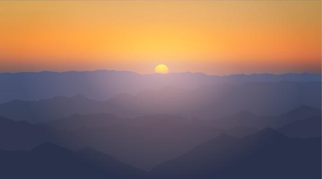 Ilustracja wektorowa: krajobraz górski wieczór ze wzgórzami i zachodzącym słońcem. zachód słońca