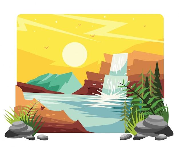 Ilustracja wektorowa krajobraz wodospadu