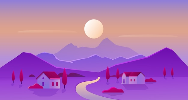 Ilustracja wektorowa krajobrazu wsi wschodu lub zachodu słońca, krajobraz z kreskówki płaskiej panoramy wsi z sylwetką słońca i góry na horyzoncie, domy z ogrodami