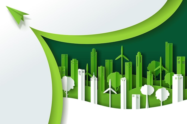 Ilustracja wektorowa krajobrazu z zielonym eko miejskim miastem
