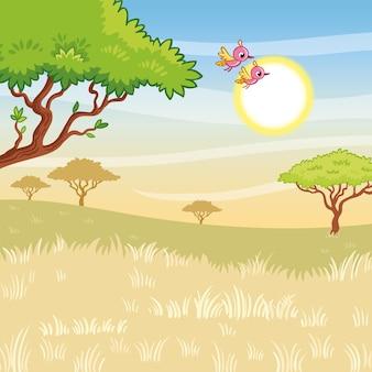 Ilustracja wektorowa krajobrazu ze słoneczną sawanną i ptakami