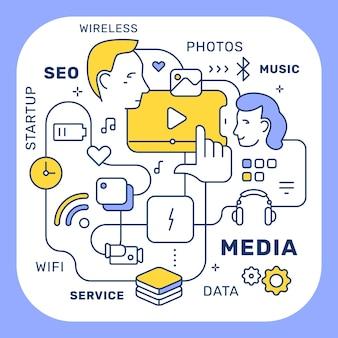 Ilustracja wektorowa kreatywnych mediów połączonych ludzi na biały kolor tła w ramce z tagiem. projekt stylu sztuki linii dla sieci, witryny, banera, plakatu