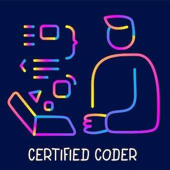 Ilustracja wektorowa kreatywnych neon kolor człowieka biznesu z laptopa na ciemnym tle z tekstem. projekt graficzny w stylu sztuki liniowej dla strony internetowej, witryny, banera, plakatu, prezentacji