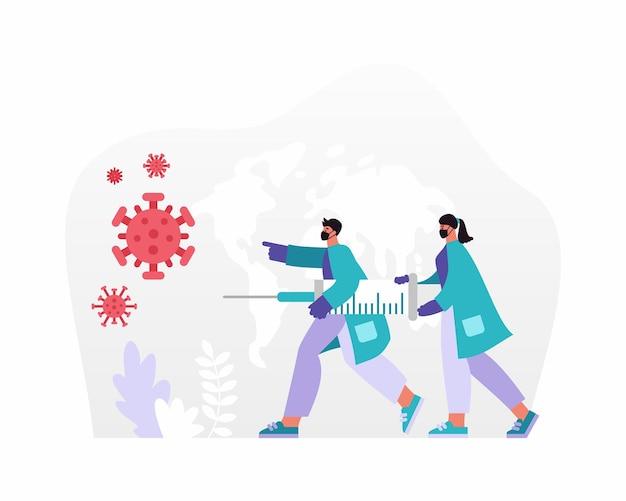 Ilustracja wektorowa kreskówek lekarzy płci męskiej i żeńskiej w maskach niosących strzykawkę ze szczepionką podczas ścigania i zwalczania zarazków koronawirusa