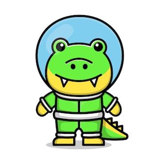 Ilustracja wektorowa kreskówka astronauta ładny krokodyl