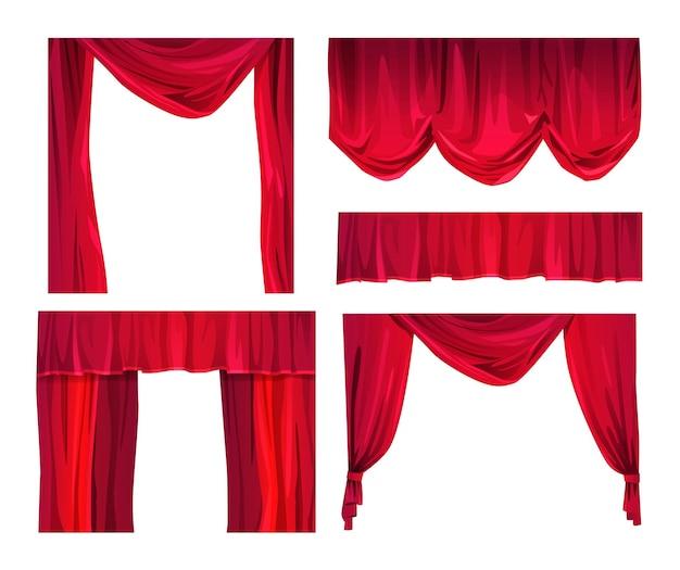 Ilustracja wektorowa kreskówka czerwone zasłony teatr lub kino aksamitne zasłony