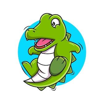 Ilustracja wektorowa kreskówka krokodyl ładny