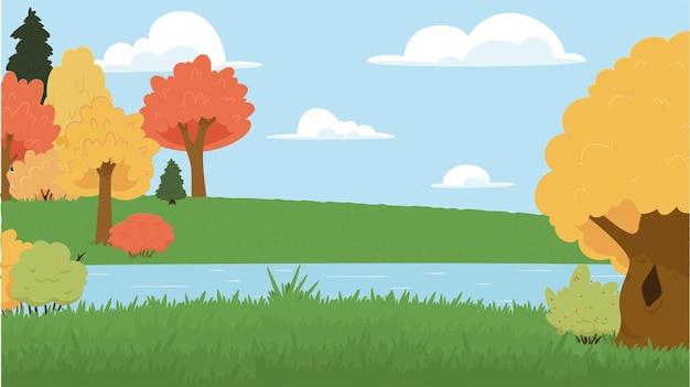 Ilustracja wektorowa kreskówka park krajobrazowy