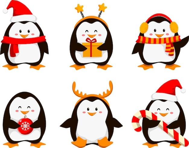 Ilustracja wektorowa kreskówka pingwiny. świąteczne postacie pingwinów