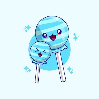 Ilustracja wektorowa kreskówka słodkie cukierki. koncepcja cukierków na białym tle wektor premium.