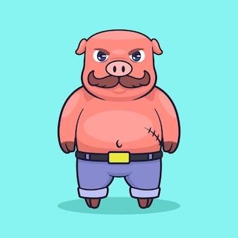 Ilustracja wektorowa kreskówka świnia gangstera