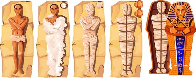 Ilustracja wektorowa kreskówka tworzenia mumii