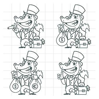 Ilustracja wektorowa, krokodyl milioner bankier doodle, format eps 10