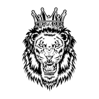 Ilustracja wektorowa króla lwa. głowa wściekłego ryczącego samca z grzywą i królewską koroną