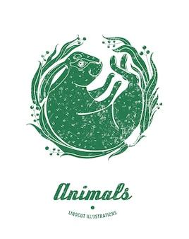 Ilustracja wektorowa królik linoryt na białym tle