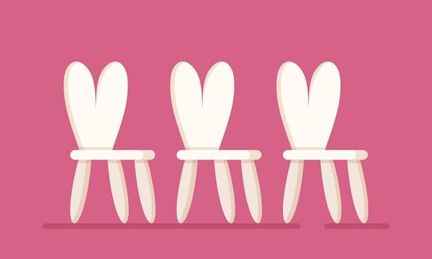Ilustracja wektorowa krzesełek dla dzieci. trzy krzesła na białym tle na różowym tle. meble dzieciece. krzesła do przedszkola, pokoju dziecięcego, wakacyjnej sali zabaw.