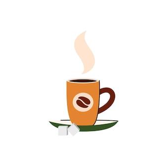 Ilustracja wektorowa kubek kawy z cukrem