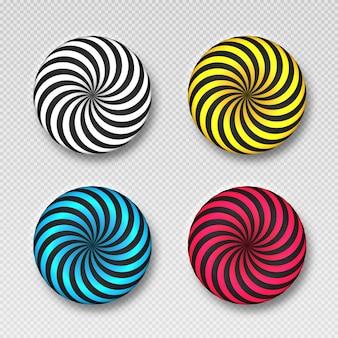 Ilustracja wektorowa kulek teksturowanych z falistą teksturą w paski