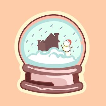 Ilustracja wektorowa kuli śnieżnej z człowiekiem śniegu