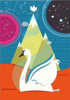 Ilustracja wektorowa łabędzia w motywie duchowym