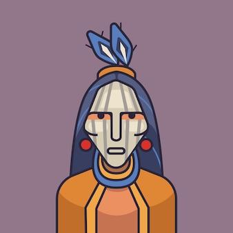 Ilustracja wektorowa ładny czerwony indianin. kreskówka indian amerykańskich