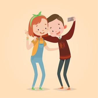 Ilustracja wektorowa ładny dla dzieci. styl kreskówki. charakter na białym tle. nowoczesne technologie dla dzieci. chłopak i dziewczyna przyjaciół robi zdjęcie.