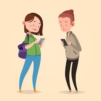 Ilustracja wektorowa ładny dla dzieci. styl kreskówki. charakter na białym tle. nowoczesne technologie dla dzieci. chłopiec i dziewczynka z inteligentnymi telefonami.