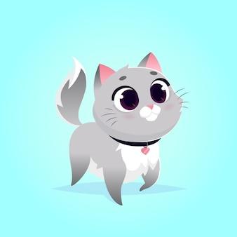 Ilustracja wektorowa ładny kot. styl kreskówki. szary puszysty kot. zwierzę domowe.