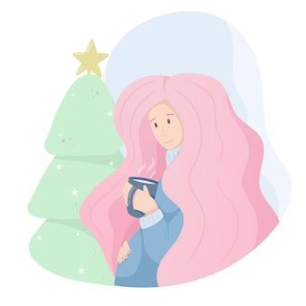 Ilustracja wektorowa ładny ładny. młoda kobieta w ciąży w delikatnych niebiesko-różowych kolorach, zimowa atmosfera, święta. komfort, kubek gorącej kawy lub herbaty i choinka z dekoracjami.