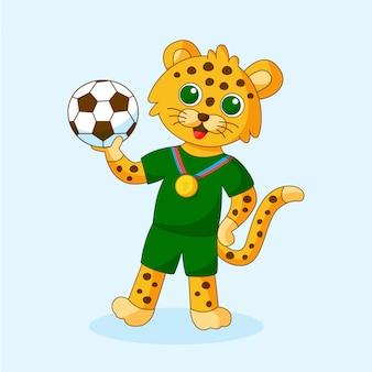 Ilustracja wektorowa ładny lampart sportowy trzymając piłkę w rękach. kreskówka zwierząt dla dzieci.