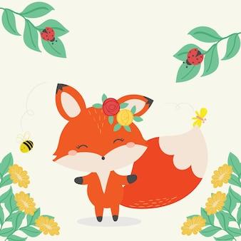 Ilustracja wektorowa ładny lis. ręcznie rysowane sztuki.