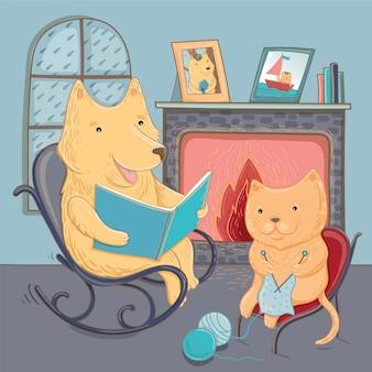 Ilustracja wektorowa ładny pies i kot. jesienna opowieść o przytulności. szablon do projektowania graficznego.