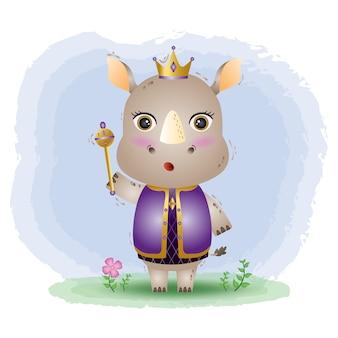 Ilustracja wektorowa ładny rhino king