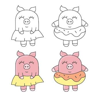 Ilustracja wektorowa ładny świnia. kolekcja zabawnych zwierząt. - wektor
