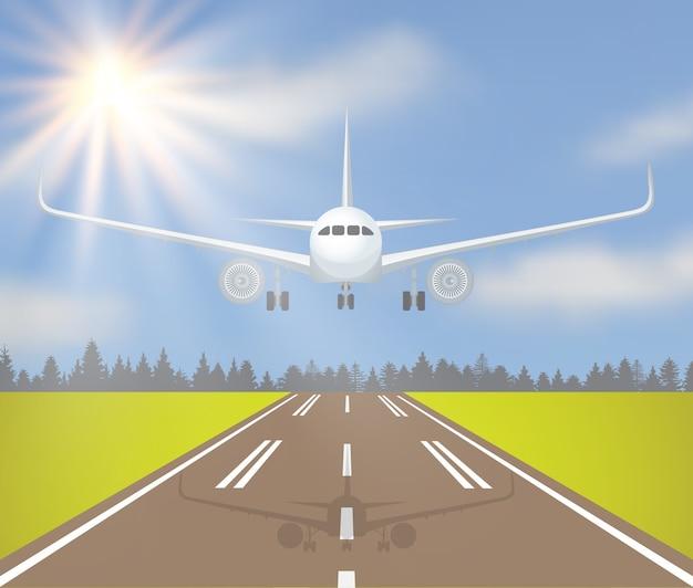 Ilustracja wektorowa lądowania lub startu samolotu z lasem, trawą i słońcem na niebie.