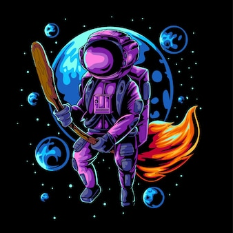 Ilustracja wektorowa latającego astronauty