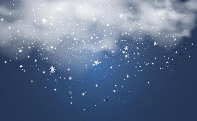 Ilustracja wektorowa latającego śniegu na przezroczystym tlenaturalne zjawisko opadów śniegu