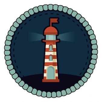Ilustracja wektorowa latarnia morska - okrągły znaczek w stylu retro