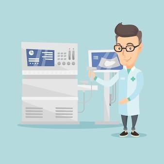Ilustracja wektorowa lekarz mężczyzna usg.