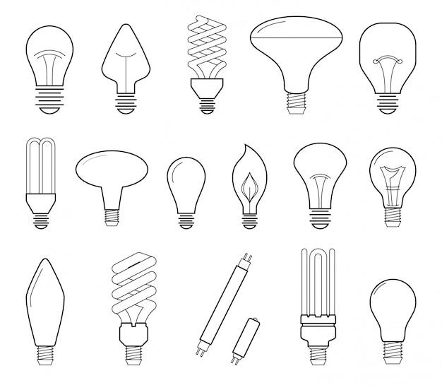 Ilustracja wektorowa linii głównych rodzajów oświetlenia elektrycznego żarówki, żarówki halogenowe, lampy cfl i lampy led. kolekcja ikona płaski.