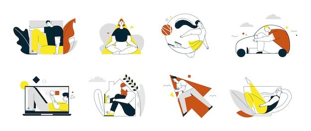 Ilustracja wektorowa liniowych postaci ludzi wypełnia zestaw kształtów na białym tle. mężczyźni, kobiety wewnątrz kwadratu, trójkąta, koła, strzałki, sylwetki samochodu, laptopa, domu, kubka