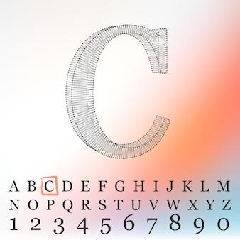 Ilustracja wektorowa litery l na białym tle. czcionki wielokątne siatki. alfabety kontur ramy drutu.