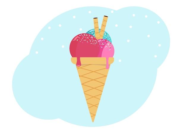 Ilustracja wektorowa lodów. trzy gałki lodów z dekoracjami w stożkowej miseczce waflowej