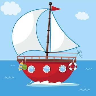 Ilustracja wektorowa łodzi żaglowej kreskówki