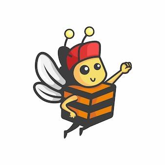 Ilustracja wektorowa logo bee box fly delivery