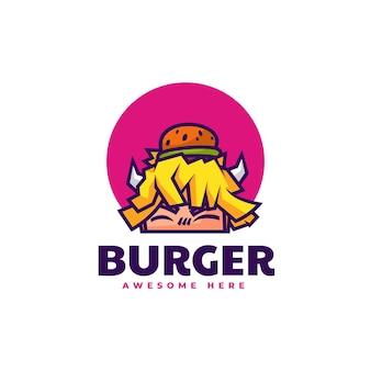 Ilustracja wektorowa logo burger boy styl prosty maskotka
