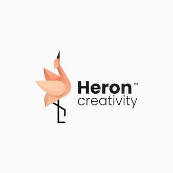 Ilustracja wektorowa logo czapla gradient kolorowy styl
