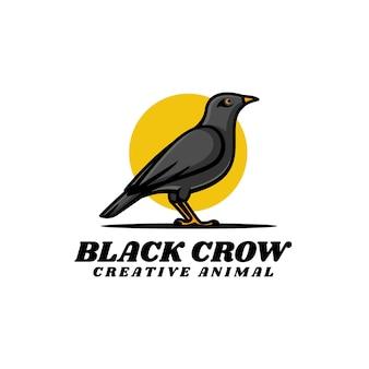 Ilustracja wektorowa logo czarny kruk prosty styl maskotki