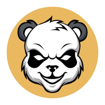 Ilustracja wektorowa logo e-sportu głowy panda maskotka