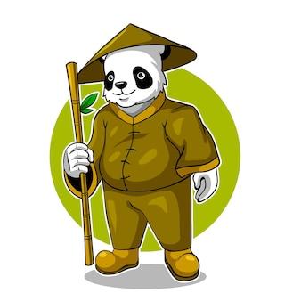 Ilustracja wektorowa logo e-sportu maskotki kungfu panda